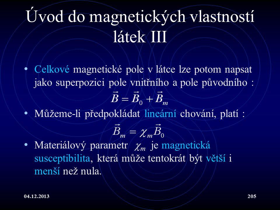 Úvod do magnetických vlastností látek III