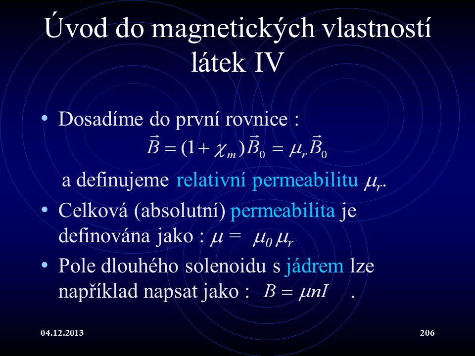 Úvod do magnetických vlastností látek IV