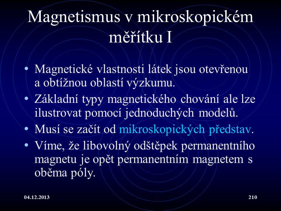 Magnetismus v mikroskopickém měřítku I