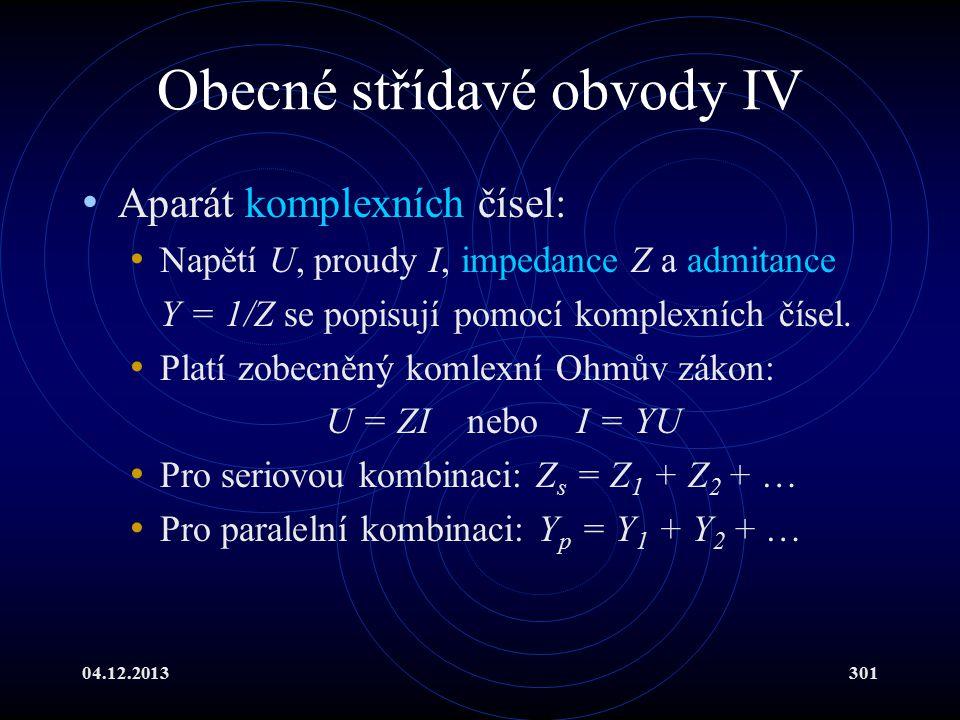 Obecné střídavé obvody IV