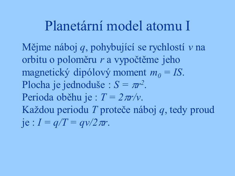 Planetární model atomu I