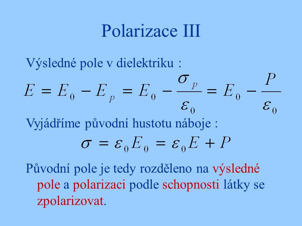 Polarizace III Výsledné pole v dielektriku :