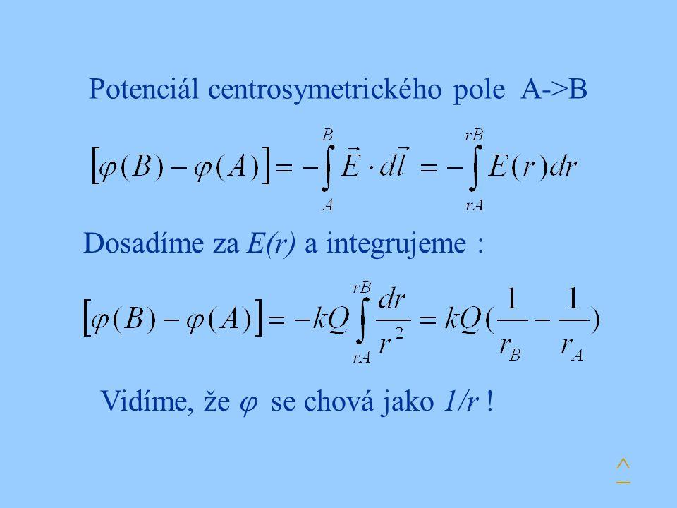 Potenciál centrosymetrického pole A->B