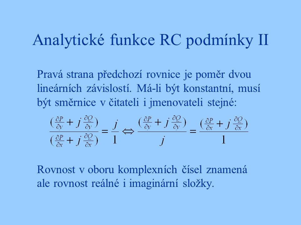 Analytické funkce RC podmínky II