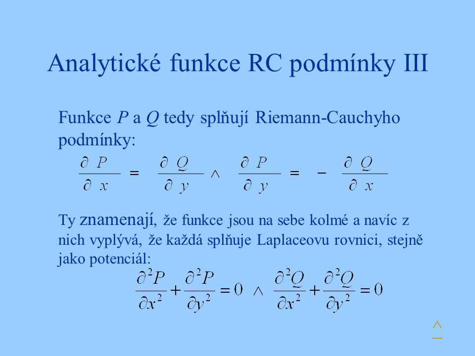 Analytické funkce RC podmínky III
