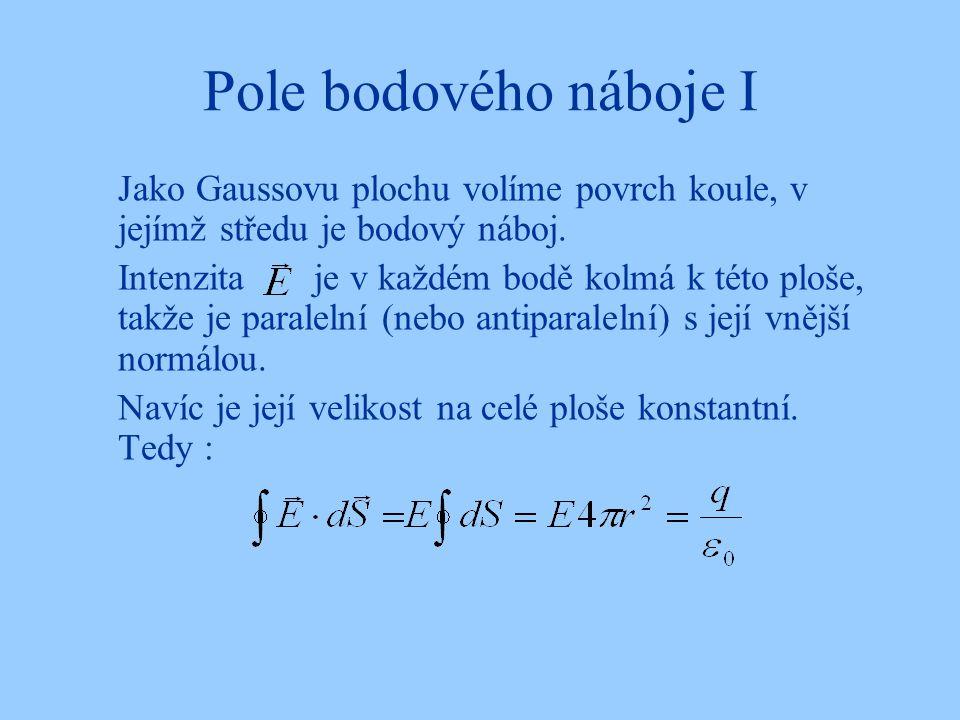 Pole bodového náboje I Jako Gaussovu plochu volíme povrch koule, v jejímž středu je bodový náboj.