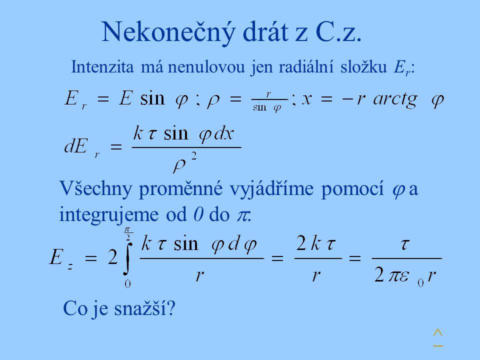 Nekonečný drát z C.z. Intenzita má nenulovou jen radiální složku Er: Všechny proměnné vyjádříme pomocí  a integrujeme od 0 do :