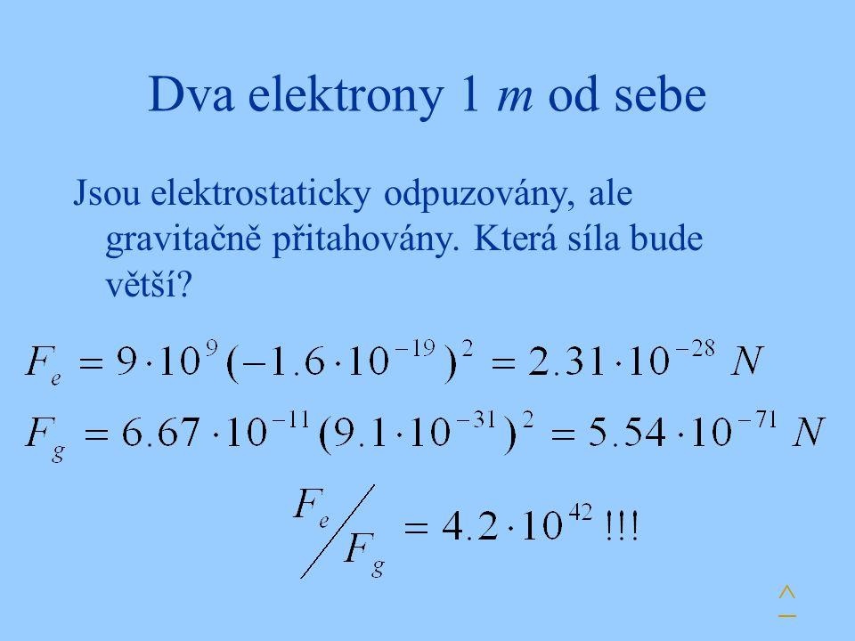 Dva elektrony 1 m od sebe Jsou elektrostaticky odpuzovány, ale gravitačně přitahovány. Která síla bude větší