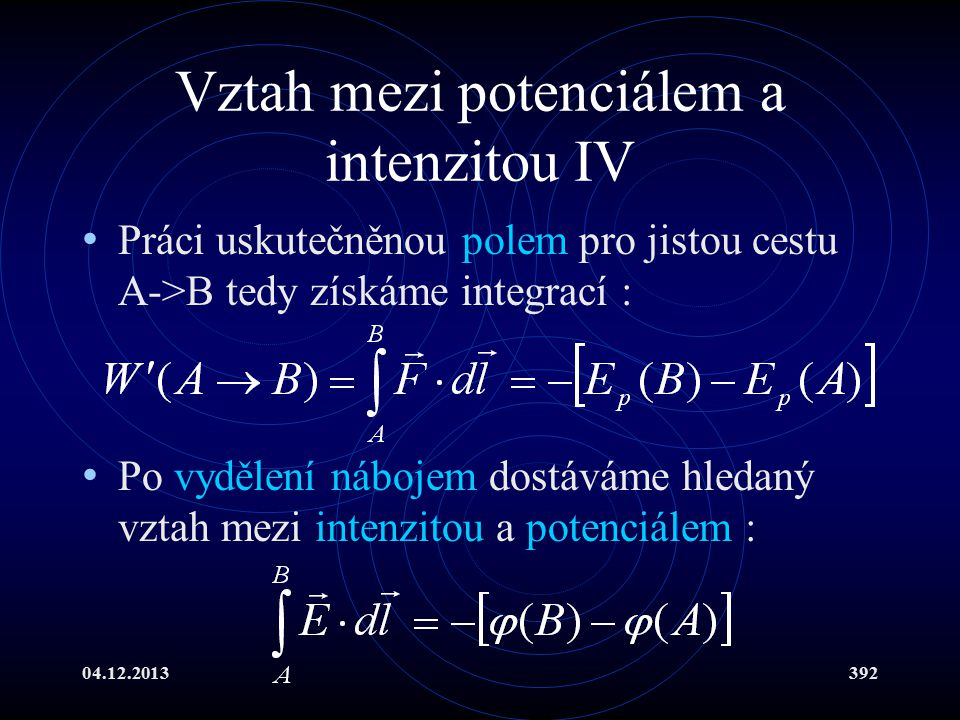 Vztah mezi potenciálem a intenzitou IV
