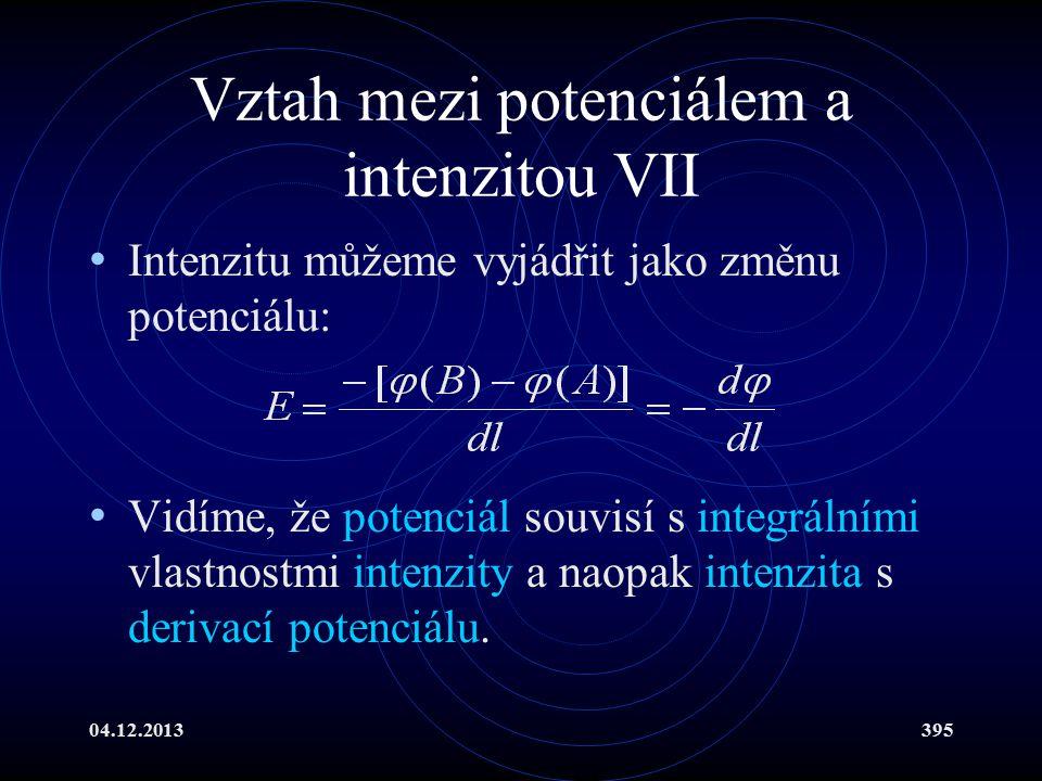 Vztah mezi potenciálem a intenzitou VII