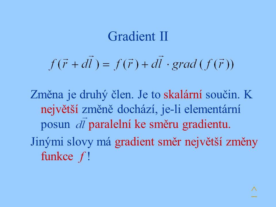 Gradient II Změna je druhý člen. Je to skalární součin. K největší změně dochází, je-li elementární posun paralelní ke směru gradientu.