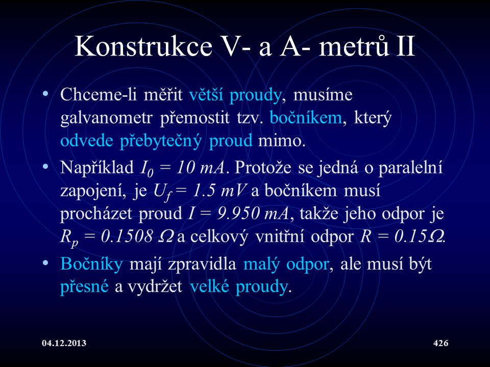 Konstrukce V- a A- metrů II