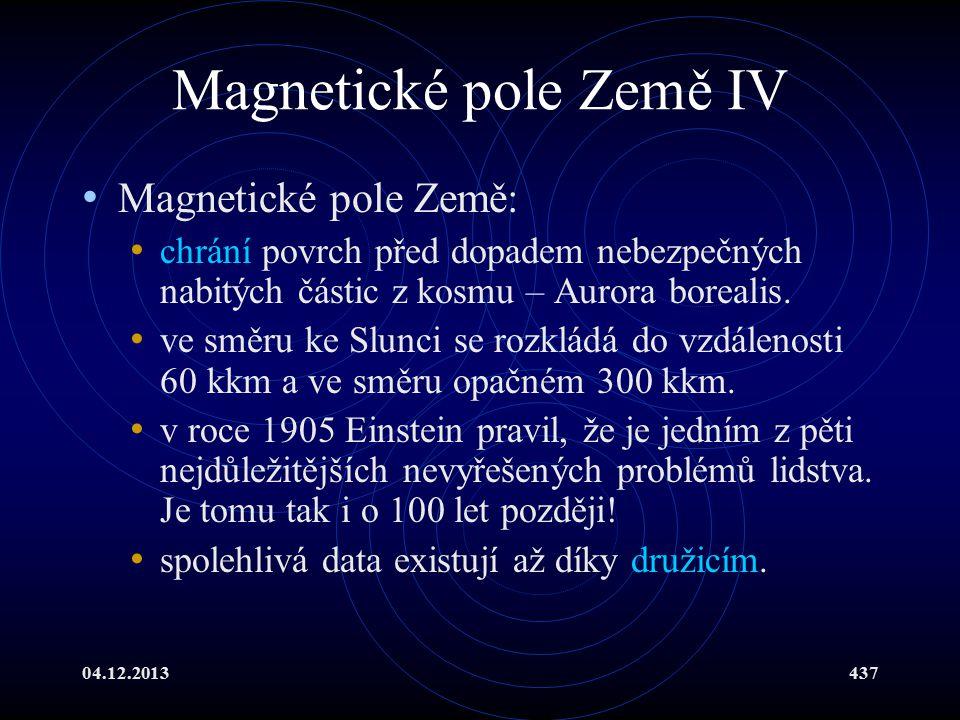 Magnetické pole Země IV