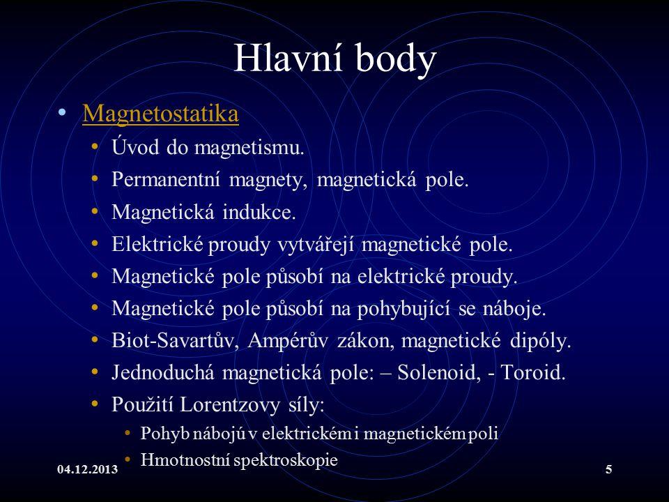 Hlavní body Magnetostatika Úvod do magnetismu.