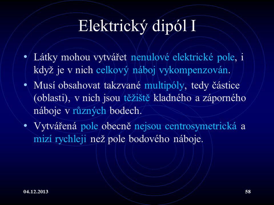Elektrický dipól I Látky mohou vytvářet nenulové elektrické pole, i když je v nich celkový náboj vykompenzován.