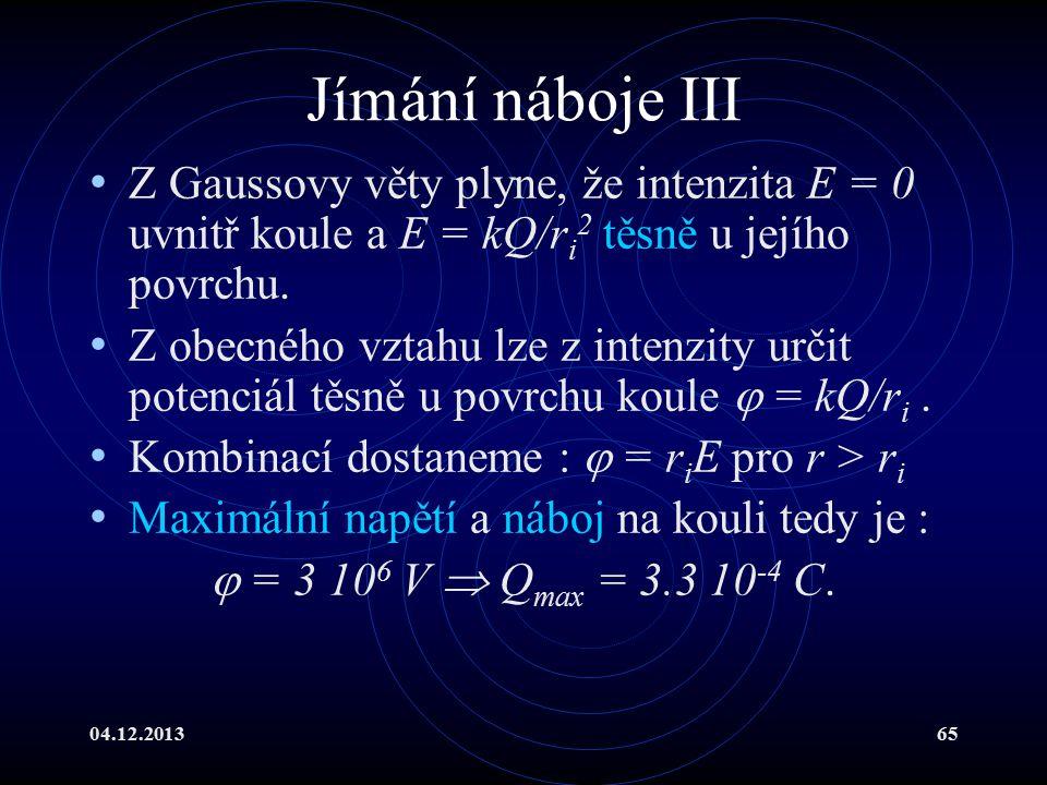 Jímání náboje III Z Gaussovy věty plyne, že intenzita E = 0 uvnitř koule a E = kQ/ri2 těsně u jejího povrchu.