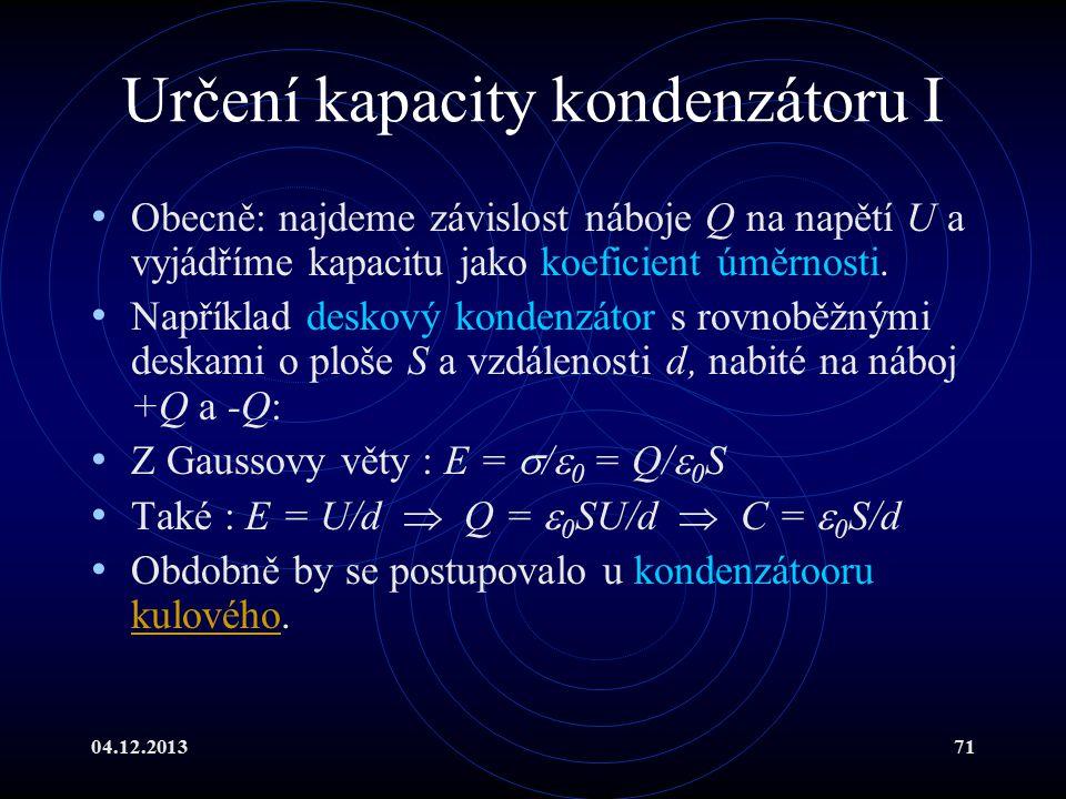 Určení kapacity kondenzátoru I