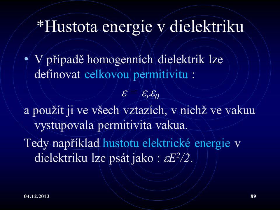 *Hustota energie v dielektriku