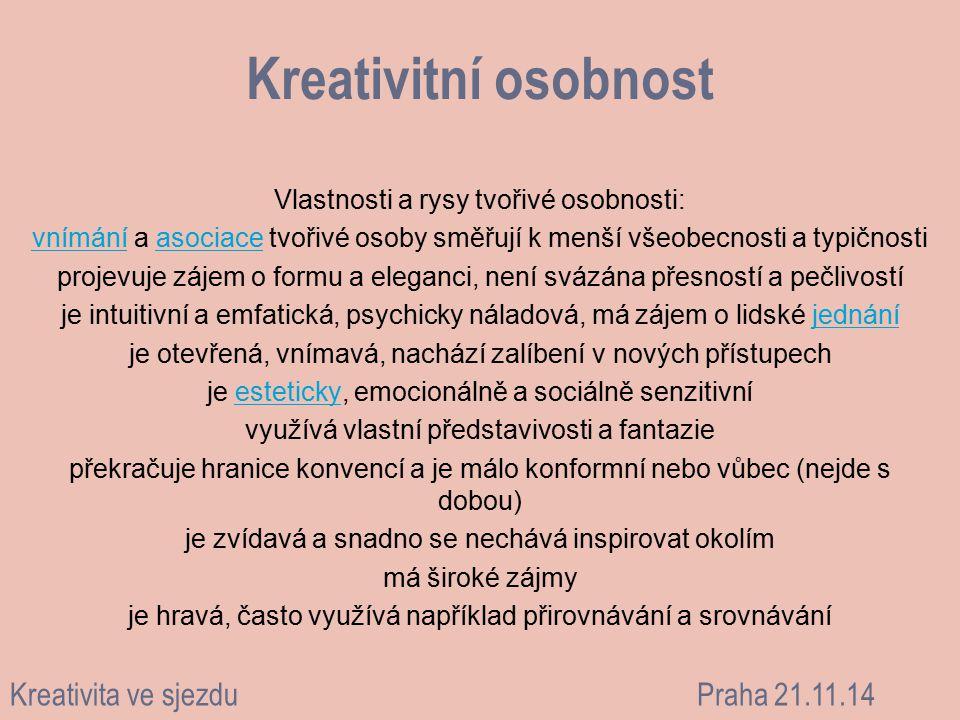 Kreativitní osobnost Kreativita ve sjezdu Praha 21.11.14