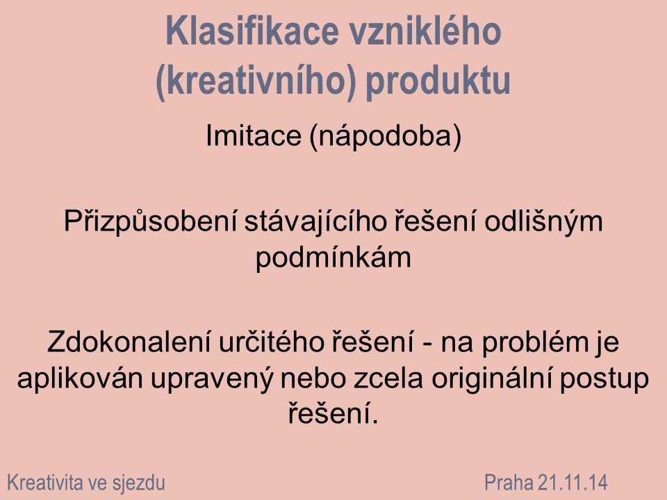 Klasifikace vzniklého (kreativního) produktu