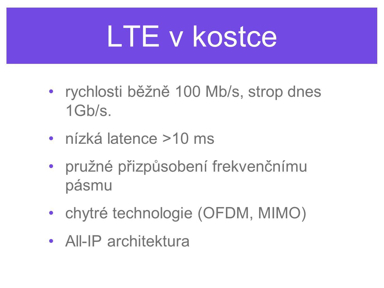 LTE v kostce rychlosti běžně 100 Mb/s, strop dnes 1Gb/s.