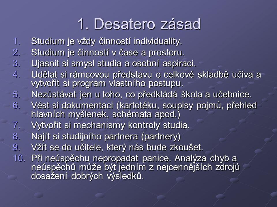1. Desatero zásad Studium je vždy činností individuality.