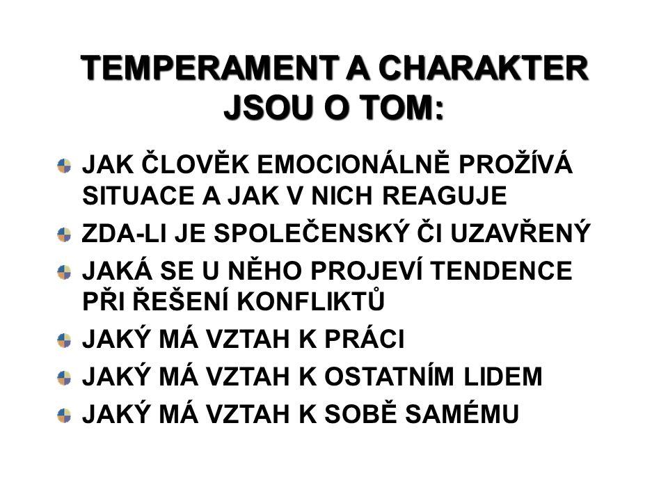 TEMPERAMENT A CHARAKTER JSOU O TOM: