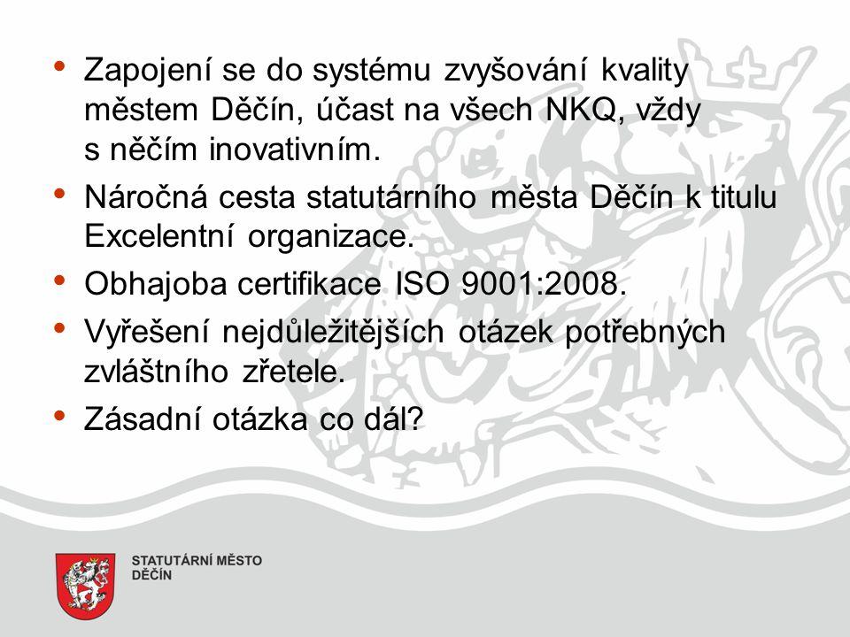 Zapojení se do systému zvyšování kvality městem Děčín, účast na všech NKQ, vždy s něčím inovativním.