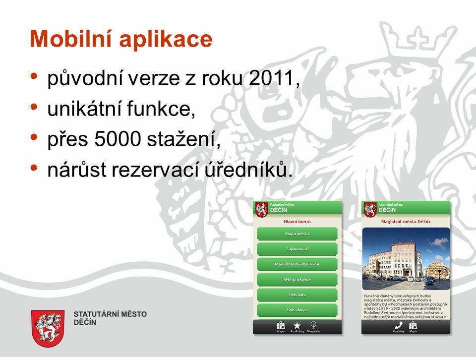 Mobilní aplikace původní verze z roku 2011, unikátní funkce,