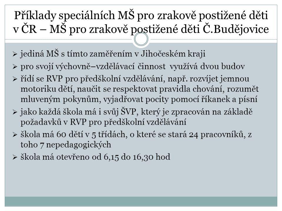 Příklady speciálních MŠ pro zrakově postižené děti v ČR – MŠ pro zrakově postižené děti Č.Budějovice