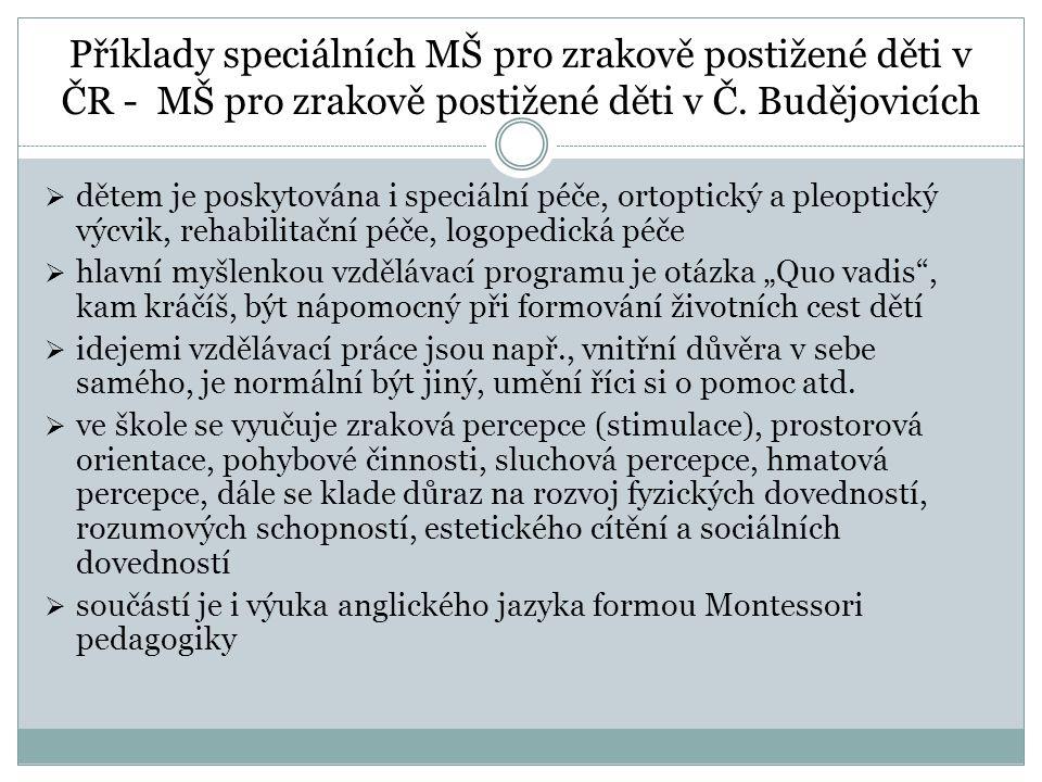 Příklady speciálních MŠ pro zrakově postižené děti v ČR - MŠ pro zrakově postižené děti v Č. Budějovicích