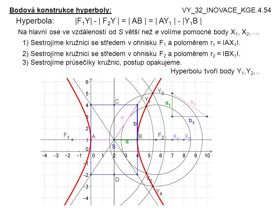 Hyperbola: |F1Y| - | F2Y | = | AB | = | AY1 | - |Y1B |