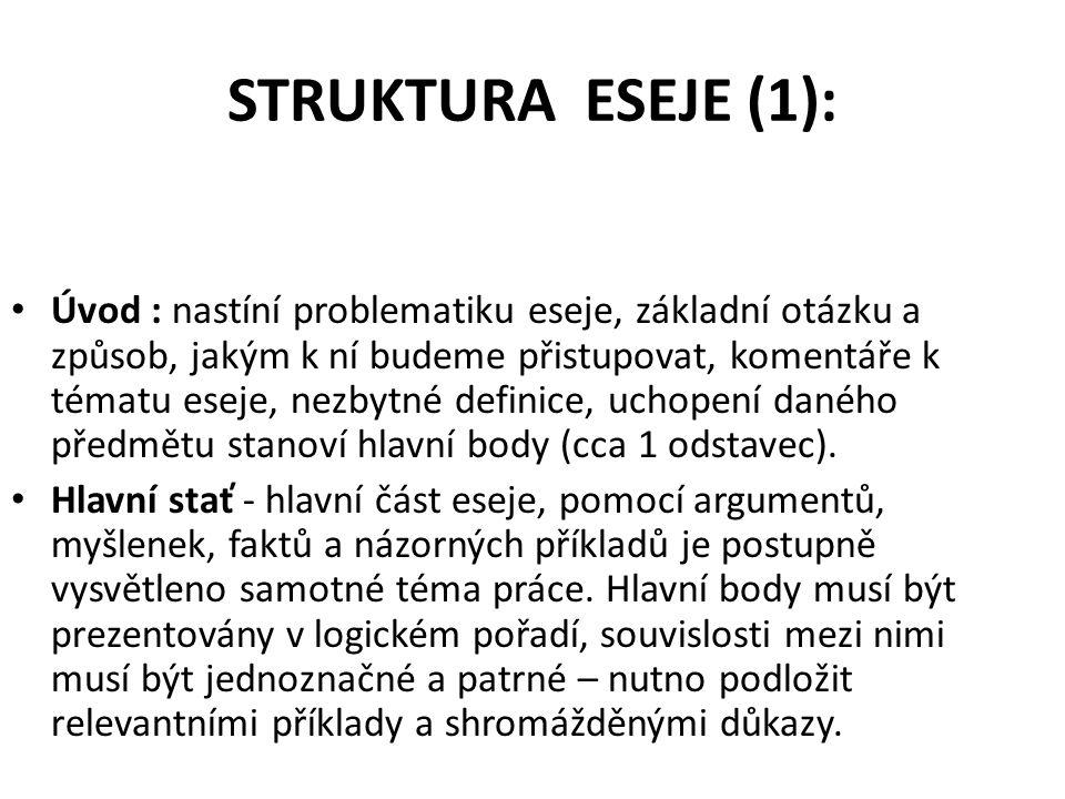 STRUKTURA ESEJE (1):