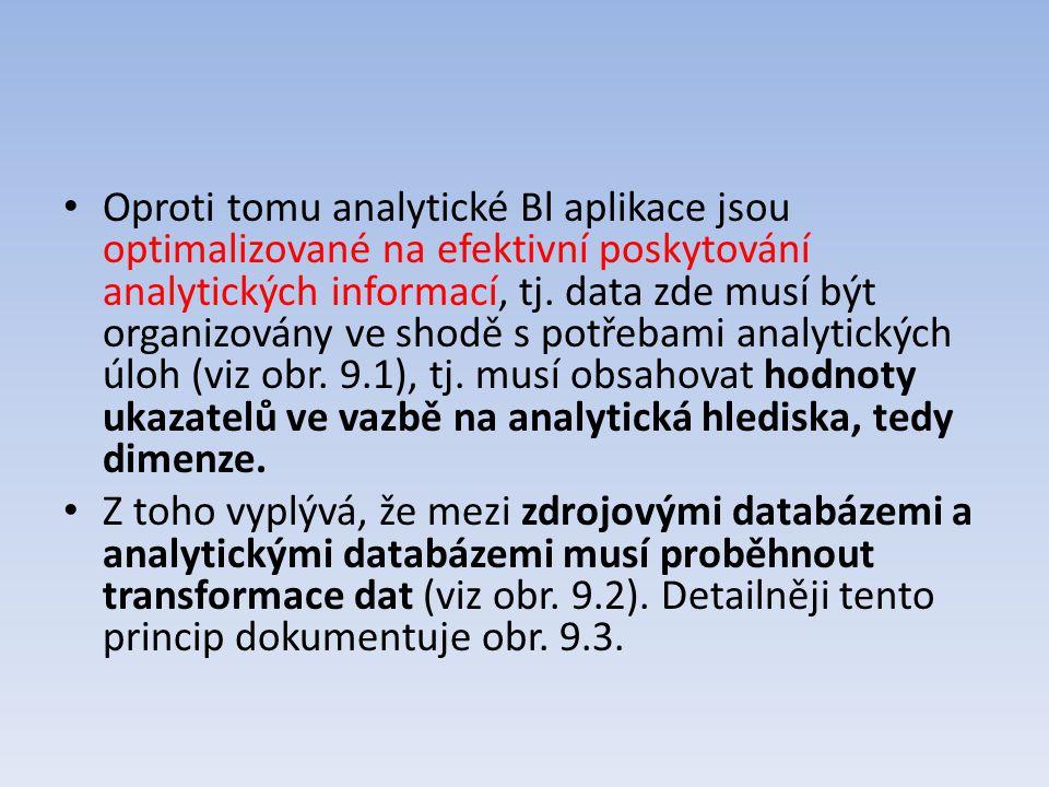 Oproti tomu analytické Bl aplikace jsou optimalizované na efektivní poskytování analytických informací, tj. data zde musí být organizovány ve shodě s potřebami analytických úloh (viz obr. 9.1), tj. musí obsahovat hodnoty ukazatelů ve vazbě na analytická hlediska, tedy dimenze.