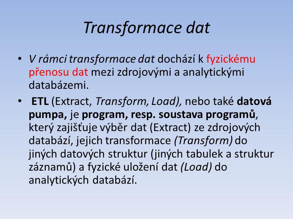 Transformace dat V rámci transformace dat dochází k fyzickému přenosu dat mezi zdrojovými a analytickými databázemi.