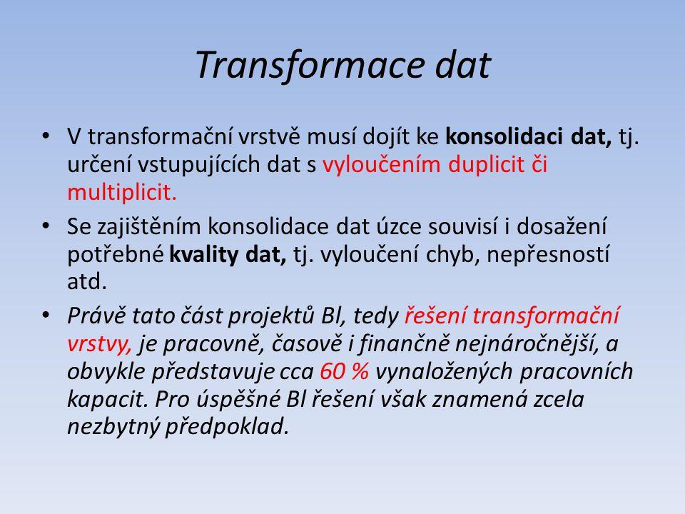 Transformace dat V transformační vrstvě musí dojít ke konsolidaci dat, tj. určení vstupujících dat s vyloučením duplicit či multiplicit.