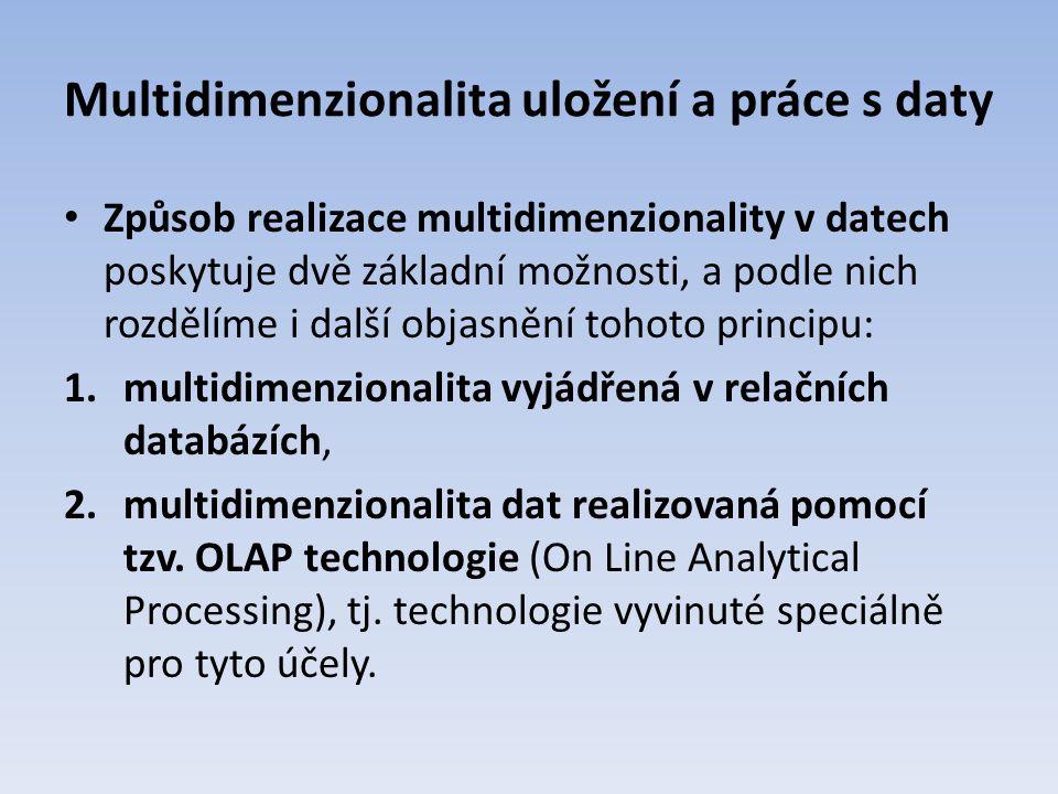 Multidimenzionalita uložení a práce s daty