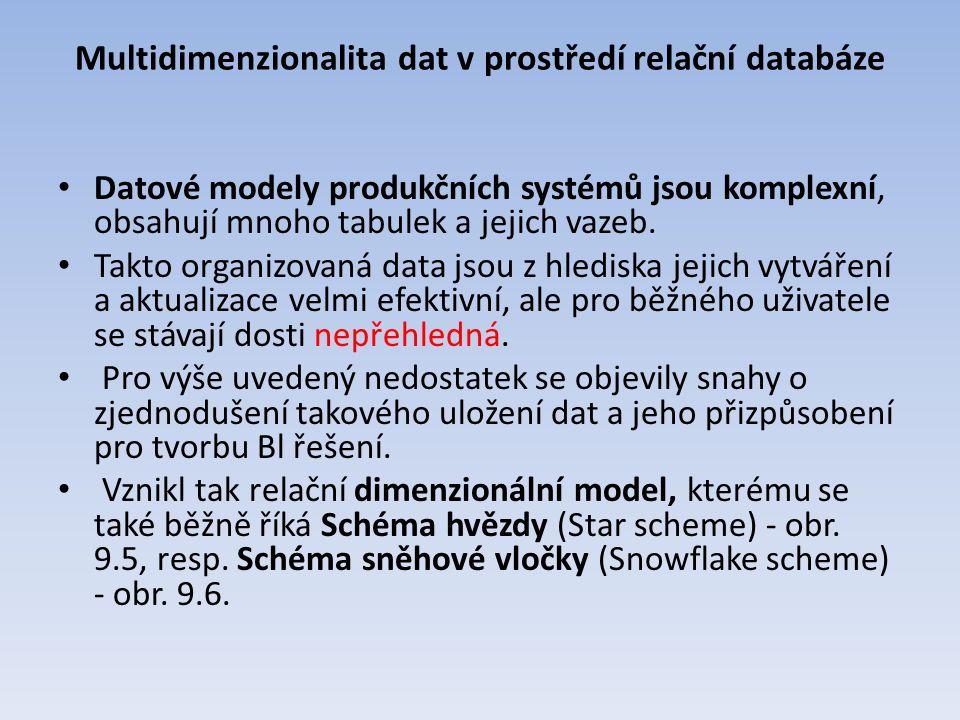 Multidimenzionalita dat v prostředí relační databáze