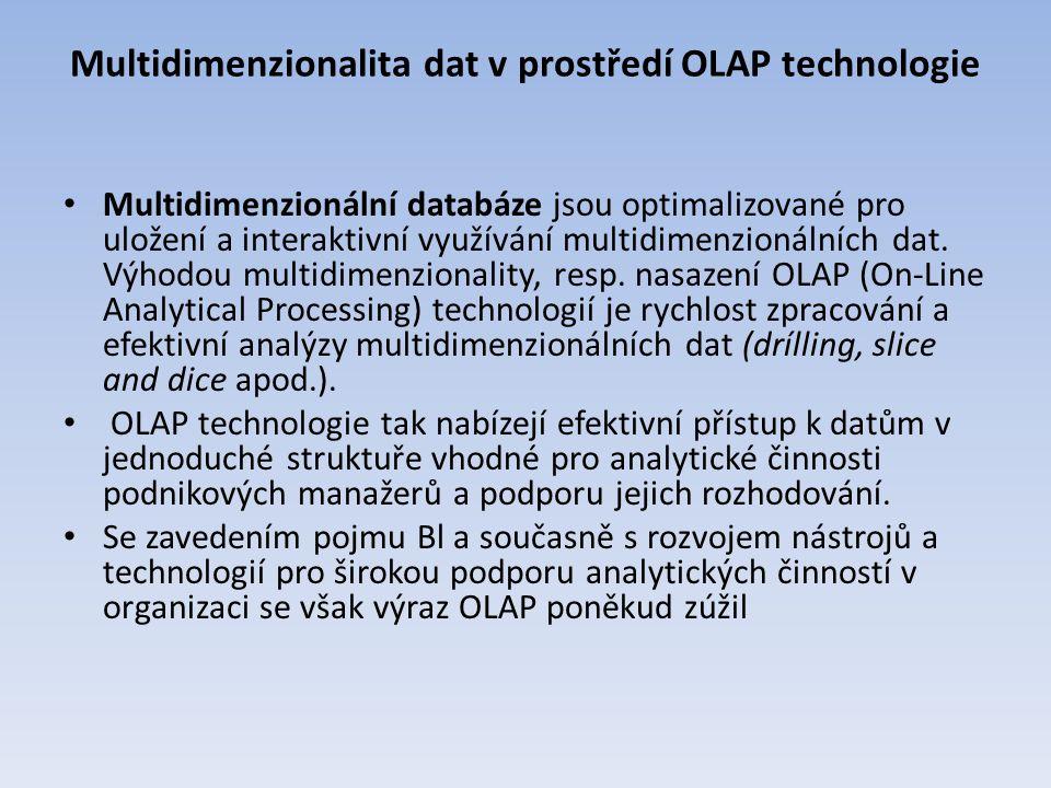 Multidimenzionalita dat v prostředí OLAP technologie