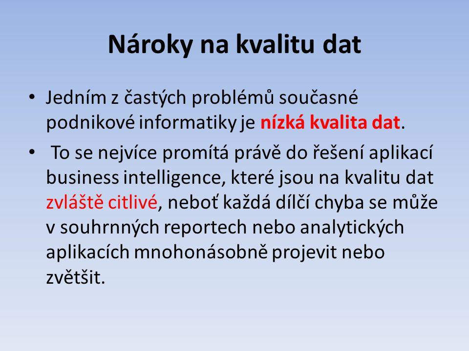 Nároky na kvalitu dat Jedním z častých problémů současné podnikové informatiky je nízká kvalita dat.