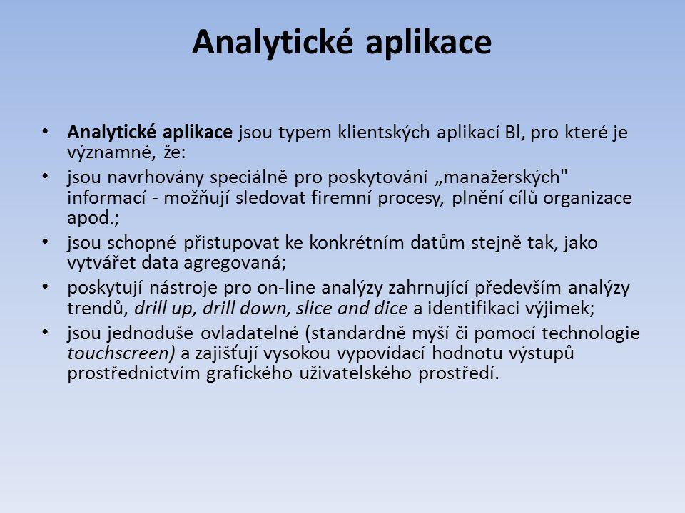 Analytické aplikace Analytické aplikace jsou typem klientských aplikací Bl, pro které je významné, že: