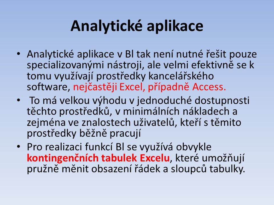 Analytické aplikace