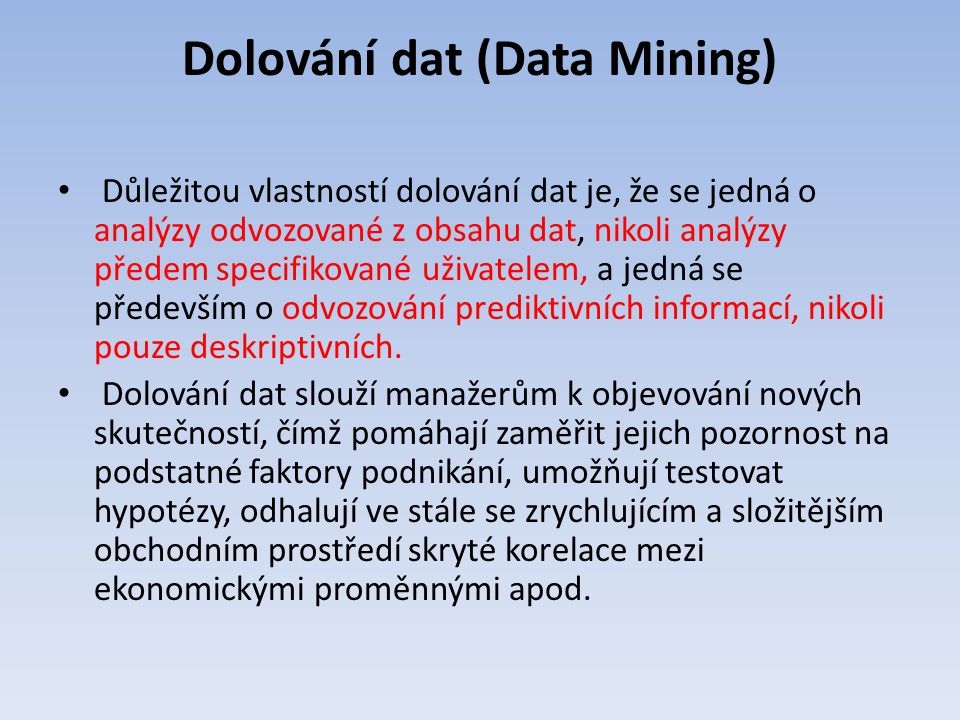 Dolování dat (Data Mining)