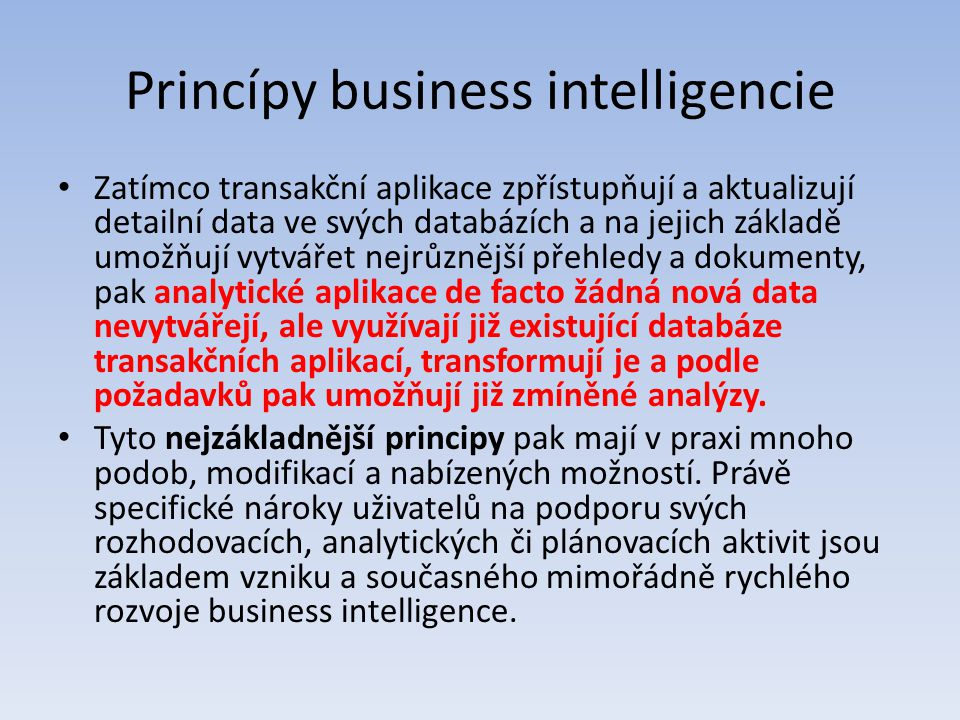 Princípy business intelligencie