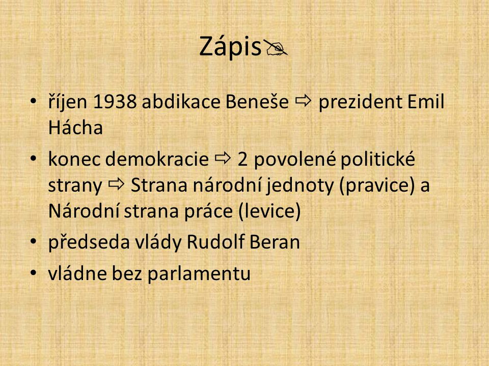 Zápis říjen 1938 abdikace Beneše  prezident Emil Hácha
