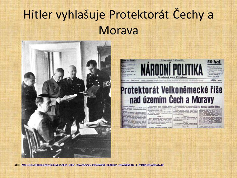 Hitler vyhlašuje Protektorát Čechy a Morava