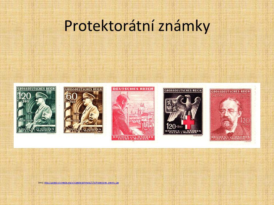 Protektorátní známky Zdroj: http://upload.wikimedia.org/wikipedia/commons/7/7c/Protektorat_znamky.jpg.