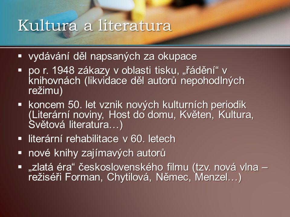 Kultura a literatura vydávání děl napsaných za okupace