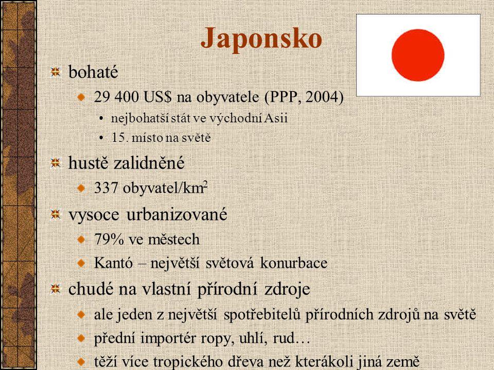 Japonsko bohaté hustě zalidněné vysoce urbanizované