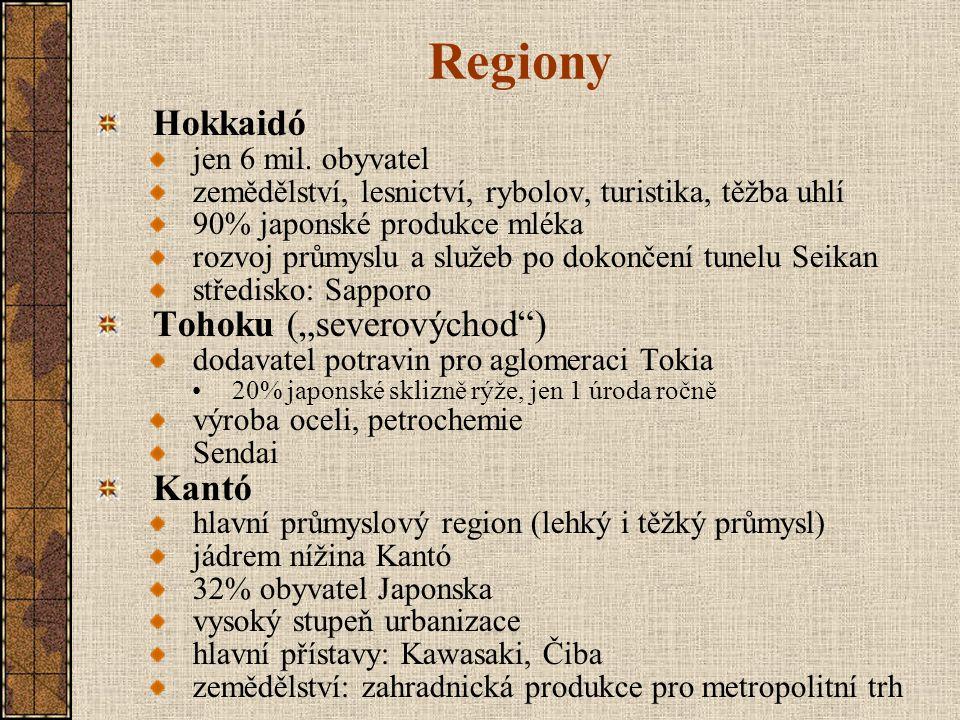 """Regiony Hokkaidó Tohoku (""""severovýchod ) Kantó jen 6 mil. obyvatel"""